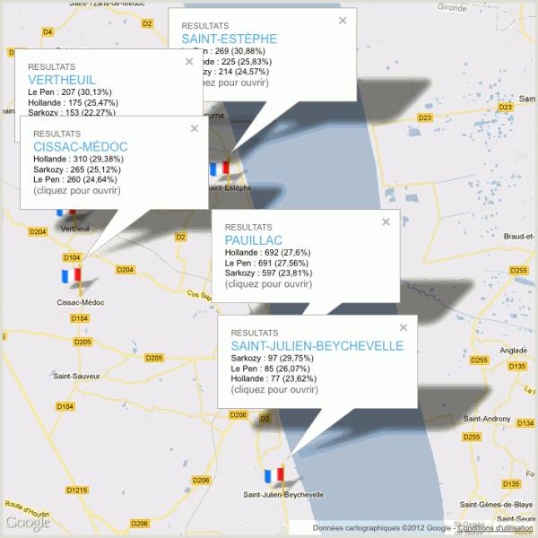 Présidentielles 2012 – 1er tour dans le canton de Pauillac